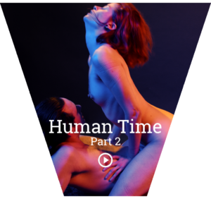 Cover for Human Time part 2, with Nina riding Conor in cowgirl, head thrown back in pleasure, both naked